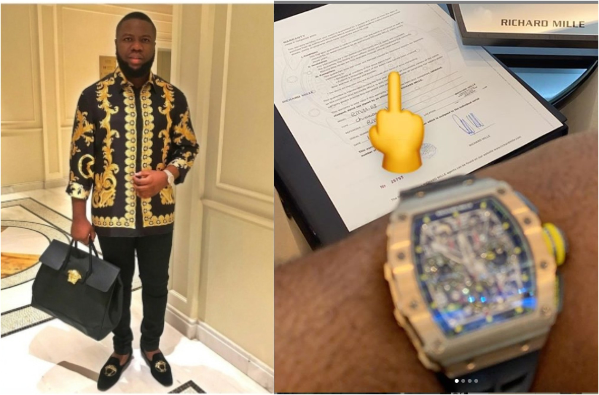 Hushpuppi shows off N90 million watch