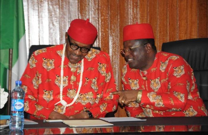 President Muhammadu Buhari and David Umahi