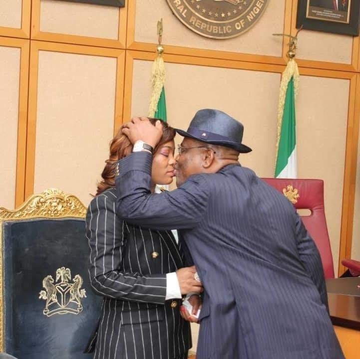 Governor Wike kissing his wife