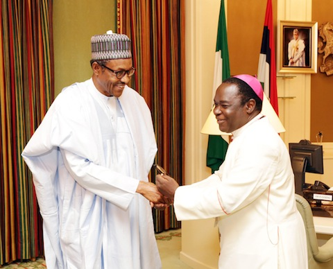 President Muhammadu Buhari and Bishop Mathew Kukah