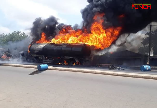 petrol tanker on fire