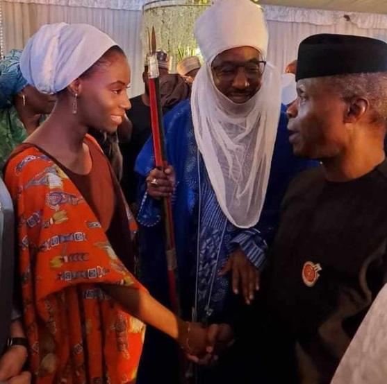 Princess Khadija Lamido Sanusi shaking VP Yemi Osinbajo
