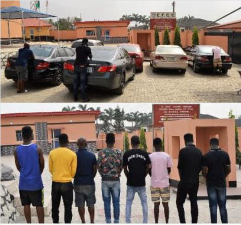 The suspected internet fraudsters arrested in Ibadan