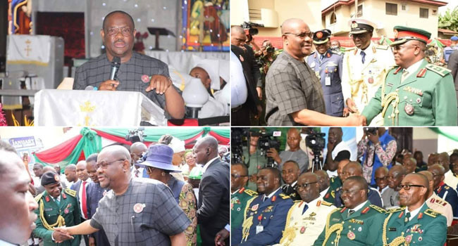 Governor Wike with members of the Armed Forces