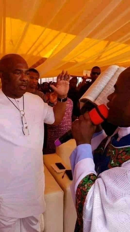 Father Ejike Mbaka prophesying to Hope Uzodinma that he will become Governor