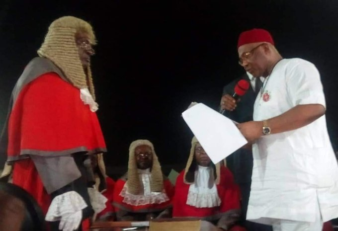 Hope Uzodinma being sworn-in as Governor of Imo state
