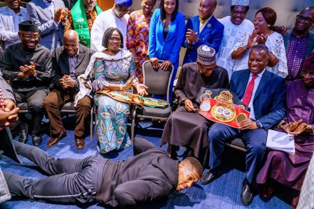 Anthony Joshua presents world titles to President Muhammadu Buhari