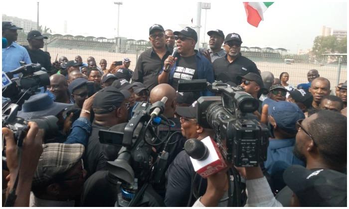 PDP members protesting in Abuja
