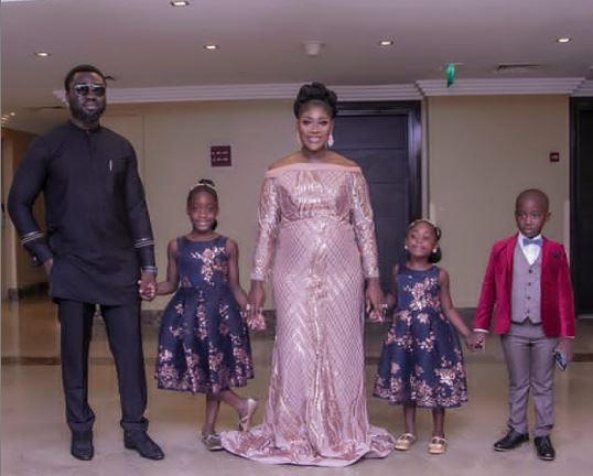 Mercy Okojie and her family at her movie premiere