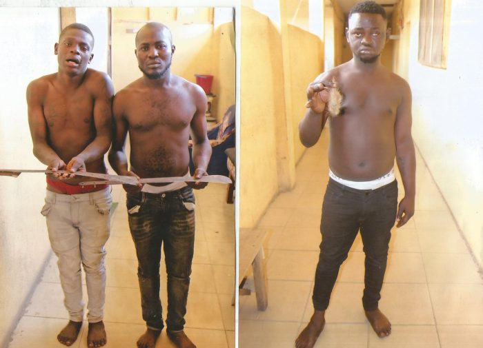 Three suspected members of Eiye Confraternity cult group