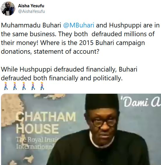 President Buhari And Hiushpuppi Are In Identical Business – Aisha Yesufu Alleges