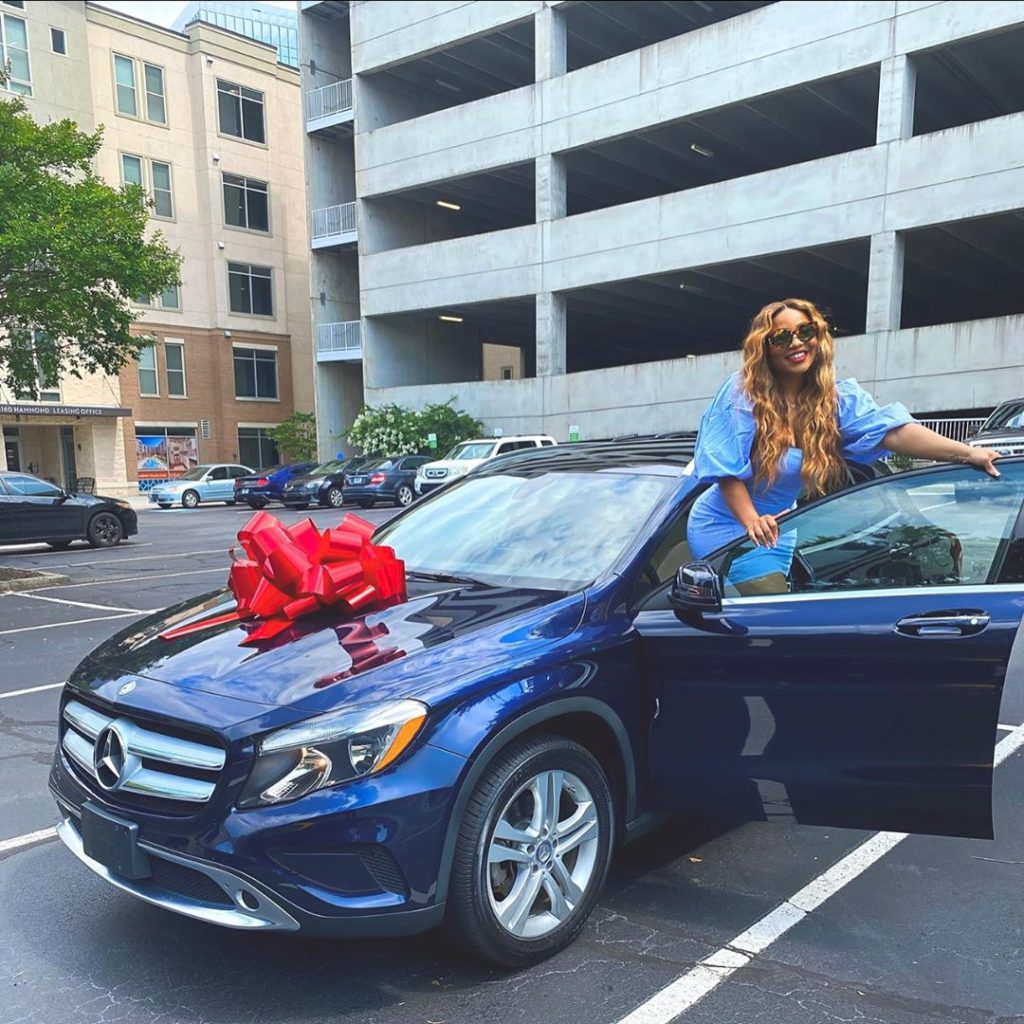 Adenike Adeleke shows off her new car gift