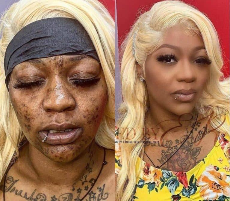 A woman's amazing makeup transformation