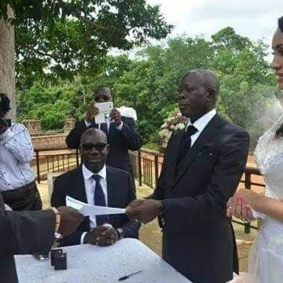 Adams and Obaseki in jolly mood at his wedding