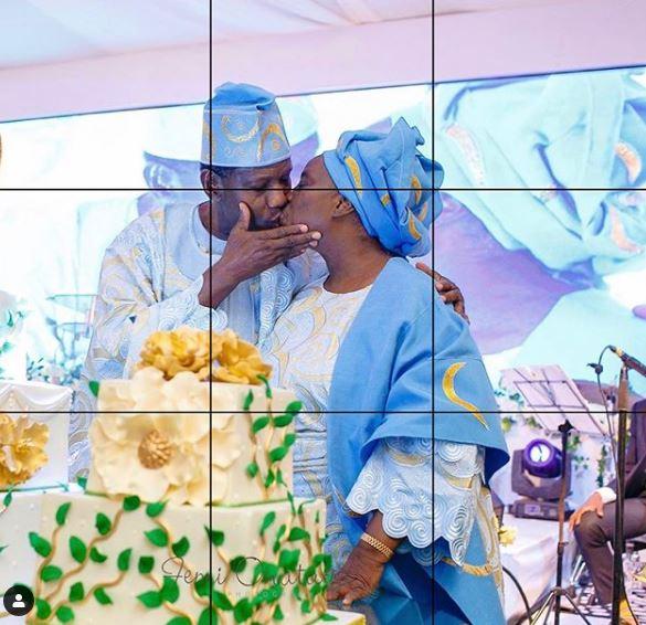 Pastor Adeboye celebrates his wife, Foluke Adebayo with a kiss