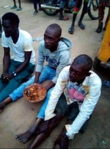Men caught with sacrifice and forced to eat it