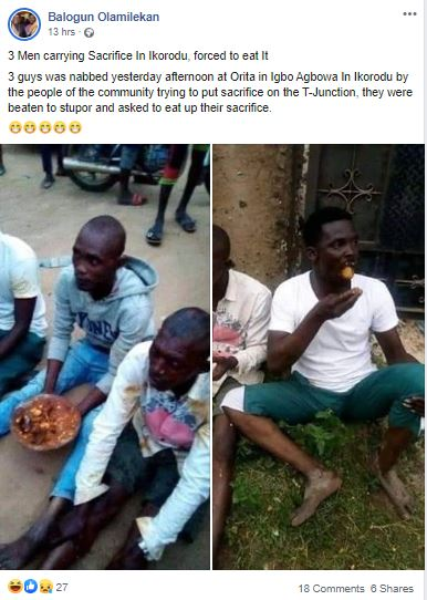 3 Men Carrying Sacrifice Forced To Eat It (Photos) 3