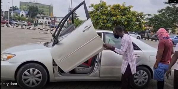 Camry car with Lamborghini doors