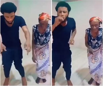Man and Grandma dance
