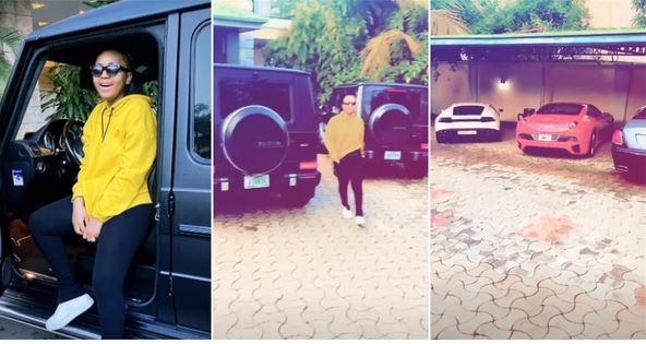 Regina Daniels flaunts her husband's cars