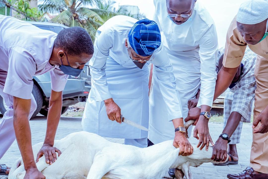Femi Gbajabiamila starts the Eid El-kabir celebration by slaughtering a ram
