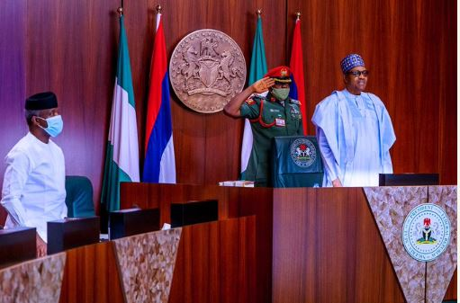 Buhari and Osinbajo at yesterday's FEC meeting