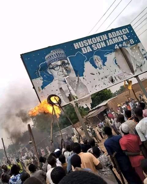 Buhari and governor Masair's billboards burnt down in Katsina state