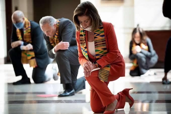 Nancy Pelosi kneels with House members in honour of George Floyd