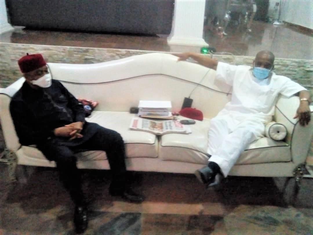 TA Orji visits Orji Uzor Kalu at his Abuja home