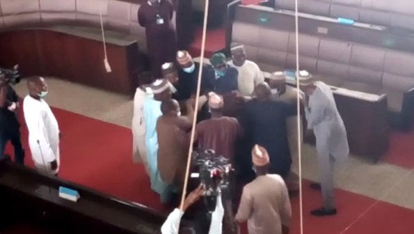 Kaduna House of Assembly members fighting over mace and impeachment of Deputy Speaker