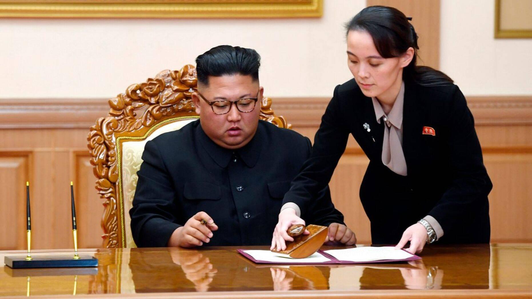 Kim Jong Un and his sister, Kim Yo Jong