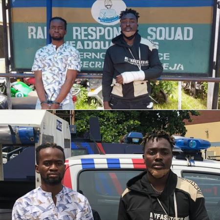 The entertainers were caught robbing victims in Lagos