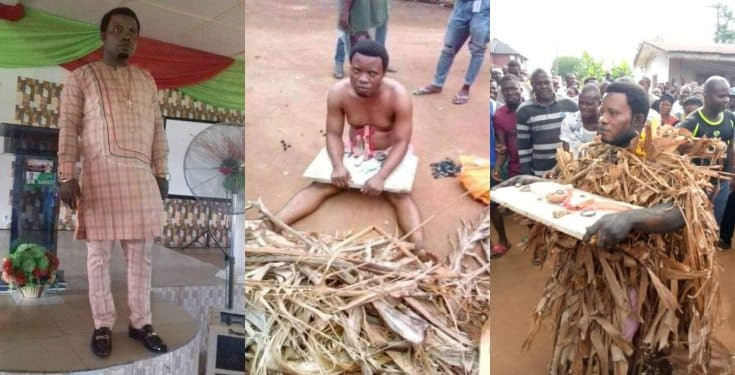 Pastor Paul Abam disgraced after he was caught planting charm in his cousin's land