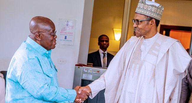 Ghana President Nana Akufo and President Muhammadu Buhari of Nigeria