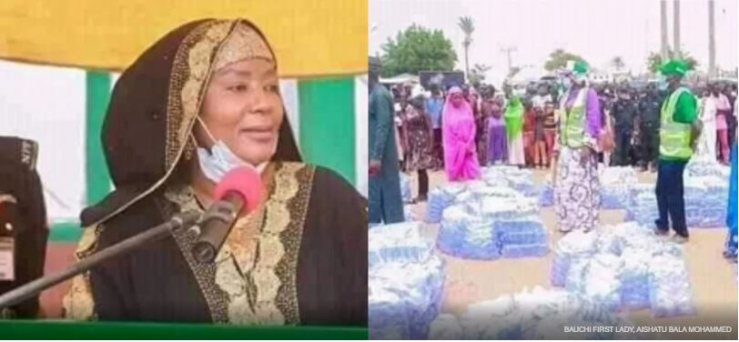 Bauchi First Lady encourages women to take up a business by distributing packs of sachet water