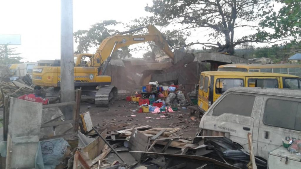 taskforce demolishes illegal structures at mile 2