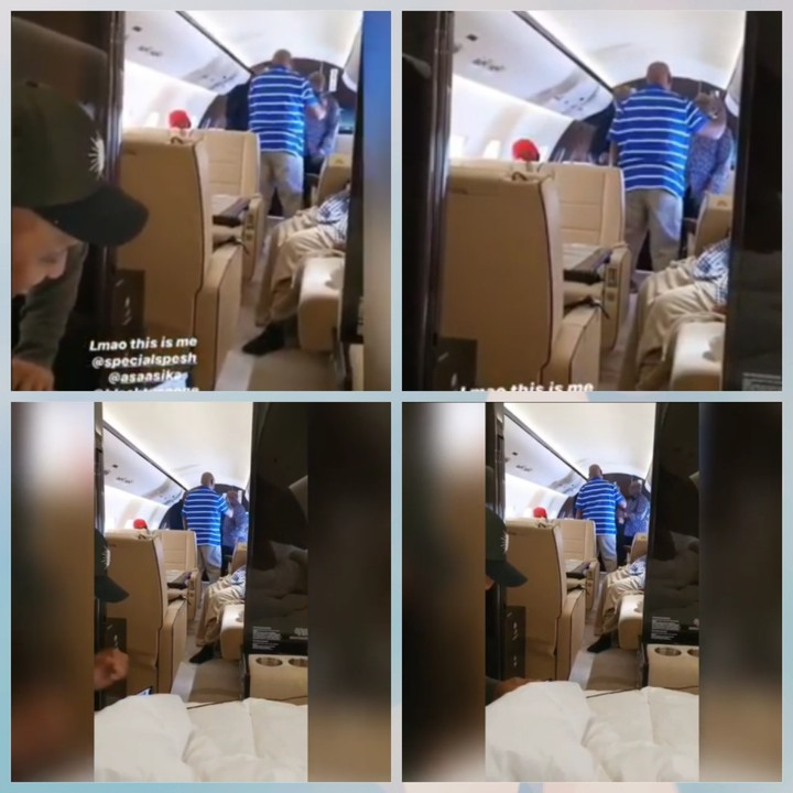 Adeleke Senior dancing inside his private jet