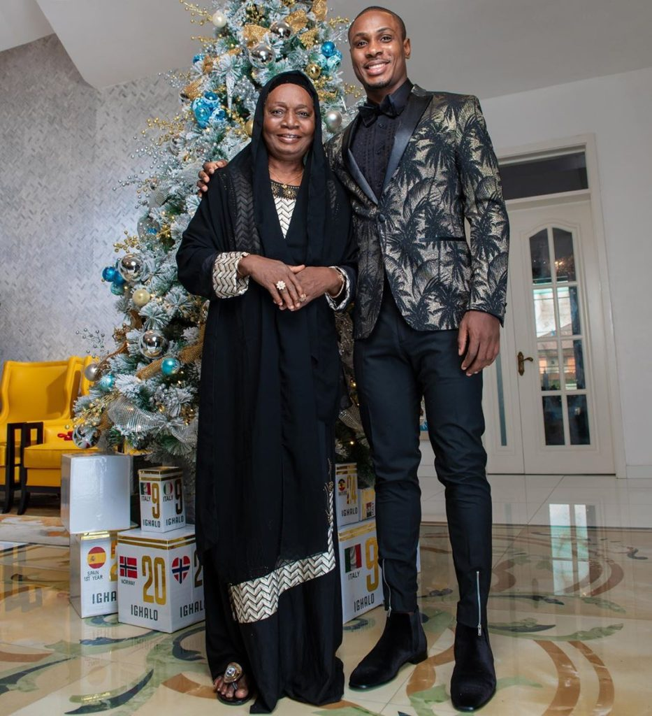 Odion Ighalo celebrates mother