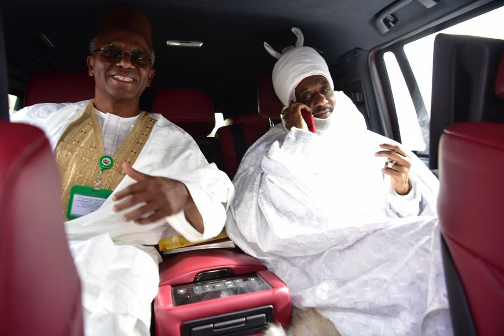 El-Rufai and Sanusi Lamido II leaving Awe for Abuja