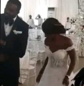 The couple danced into an empty reception hall