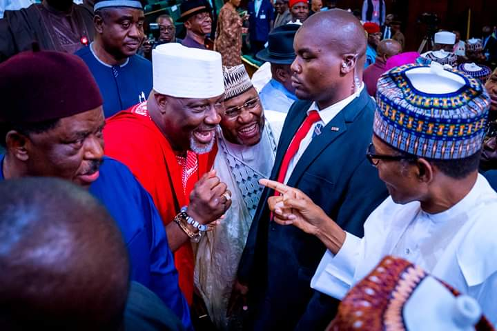 Dino Melaye and other senators meet President Buhari