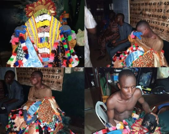 Masquerade crying after being arrested by the police in Ogun state