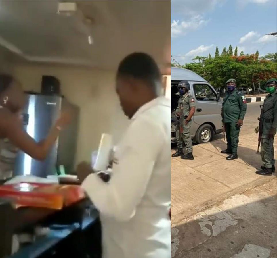 EFCC staff arresting Star Shawarma owner