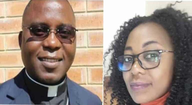 Father Abel Mwelwa and the woman who died.