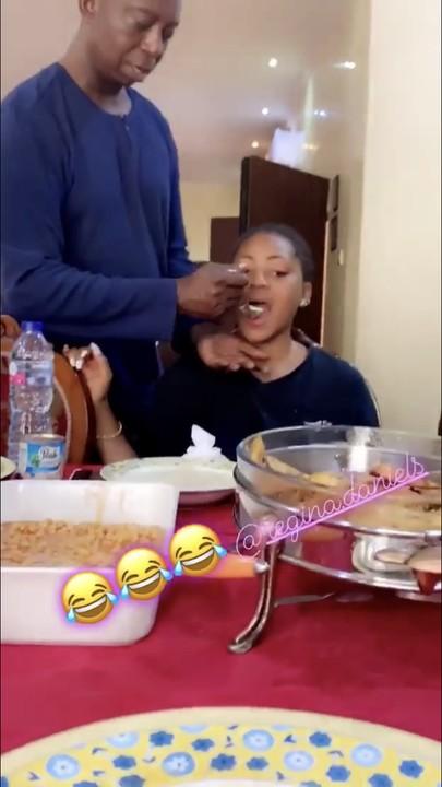 Ned Nwoke feeds the love of his life, Regina Daniels
