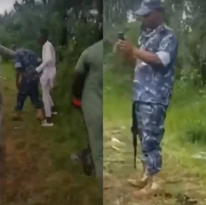 Police man shoots ground after receiving hot slaps from civilian