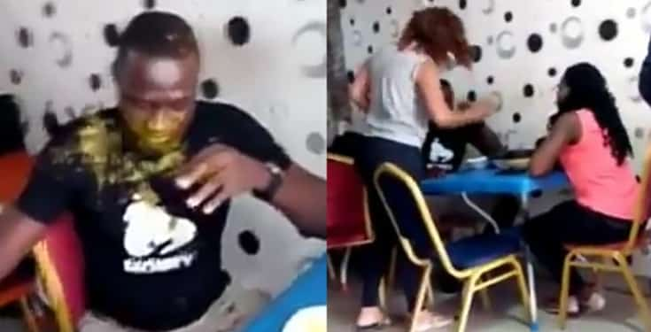 The man was disgraced in public by his wife after she caught him cheating