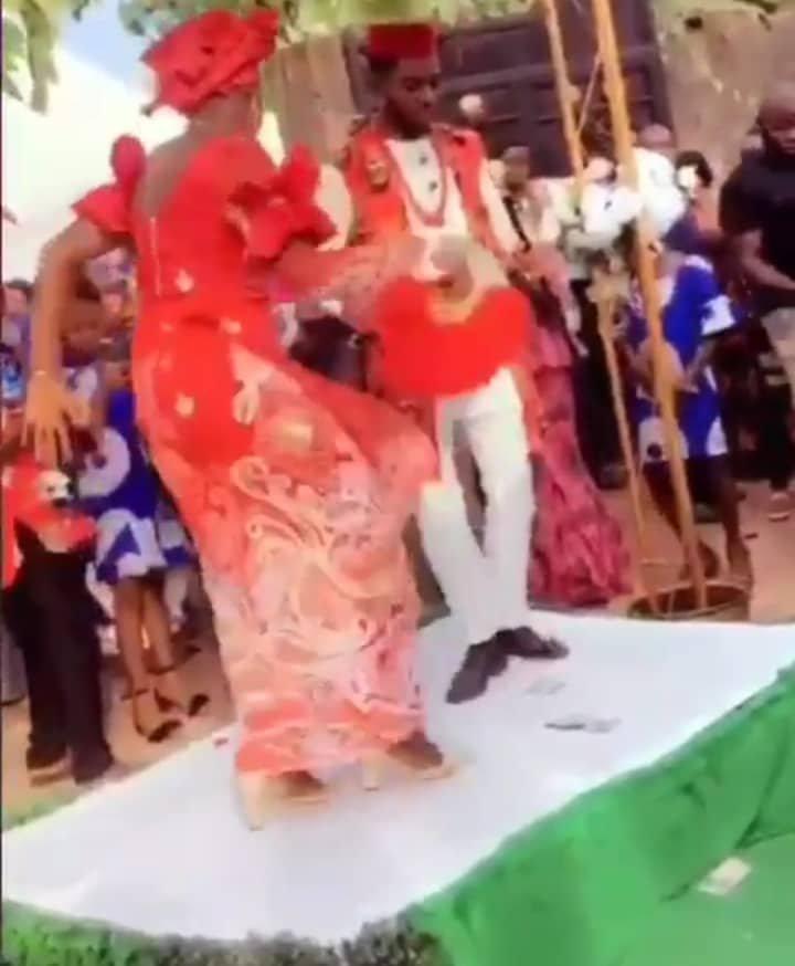 Excited bride displaying incredible dance steps