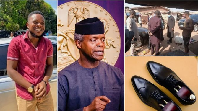 The young shoemaker shared his photo on Twitter to get the attention of Osinbajo