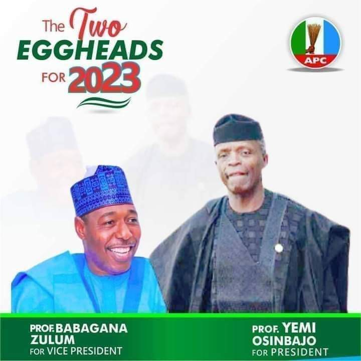 2023 campaign poster of Osinbajo and Zulum